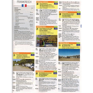 Reise Mobil Bord Atlas 2020 German Stellplatze Guide motorhome stopover europe 9783928803878 look inside entry france