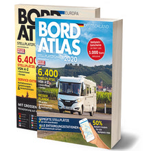 Load image into Gallery viewer, Reise Mobil Bord Atlas 2020 German Stellplatze Guide motorhome stopover europe 9783928803878 front cover