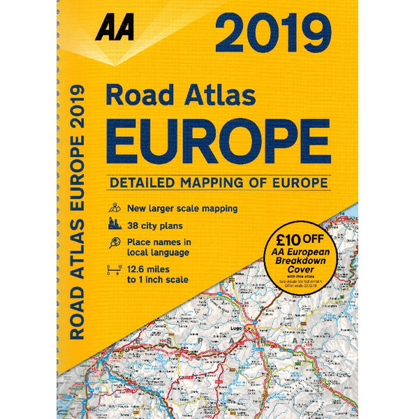 2019 AA Europe Road Atlas Spiralbound 9780749579678 front cover