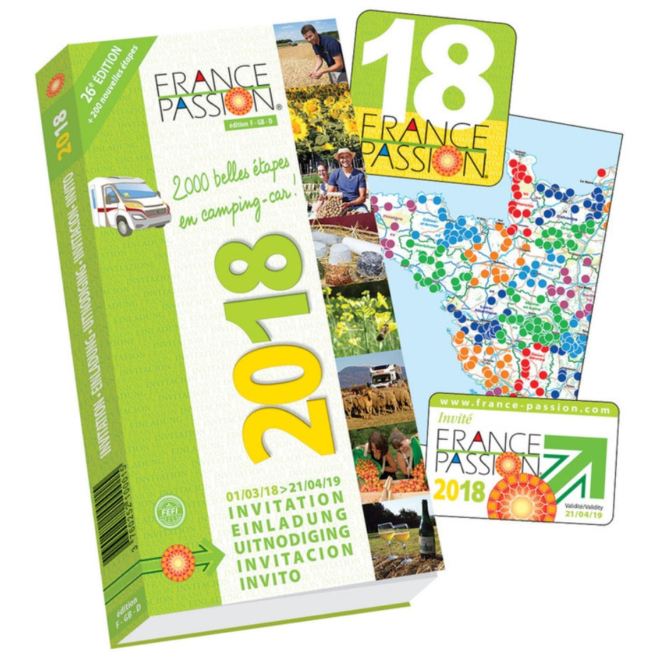 France Passion 2018 motorhome and campervan stopover scheme front cover