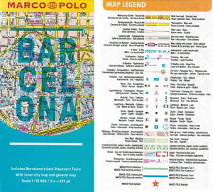 Marco Polo Barcelona Guide 9783829707626 fold out sheet map legend