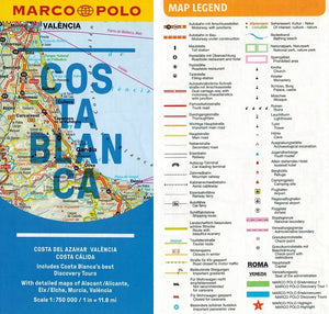 Marco Polo Costa Blanca Guide 9783829757553 fold out sheet map legend