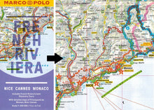 Load image into Gallery viewer, Marco Polo French Riviera Guide 9783829707671 locator fold out sheet map