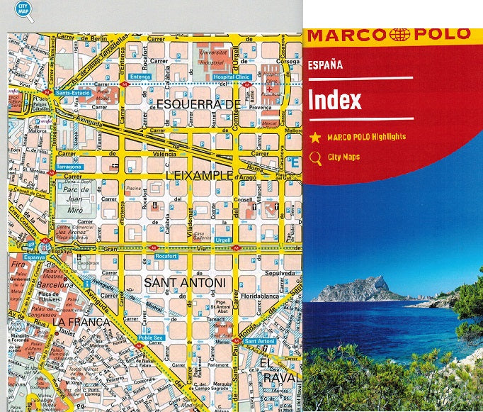 Map Of Coastal Spain.Marco Polo Spain Portugal Sheet Map