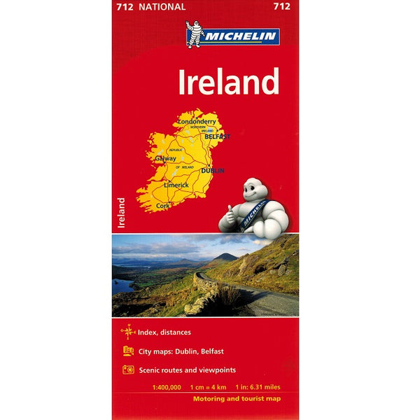Michelin Ireland Sheet Map 712 IBSN:9782067170254 Atlas, Altases, Map, Mapping, Locator map front cover