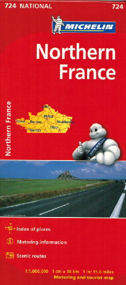 Michelin Northern France Sheet Map 724 IBSN:9782067200067 Atlas, Altases, Map, Mapping, Locator map