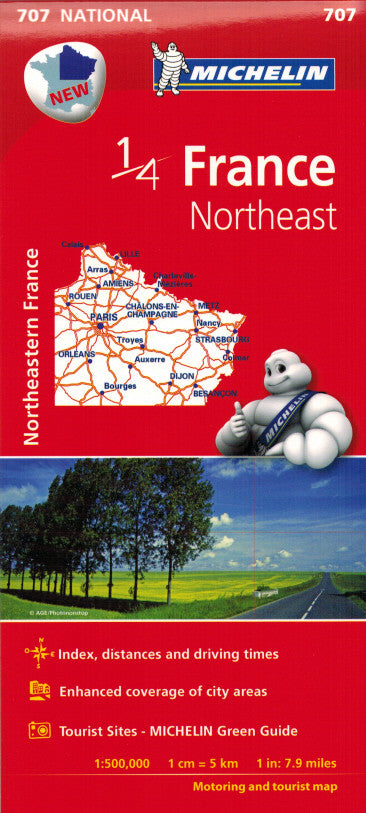 Michelin Northeast France Sheet Map 707 ISBN9782067200678