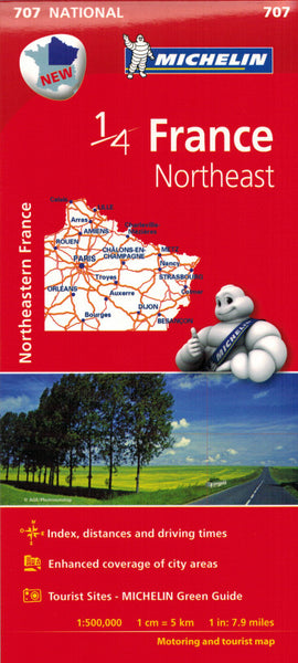 Michelin Northeast France Sheet Map 707 IBSN:9782067200678 Atlas, Altases, Map, Mapping, Locator map