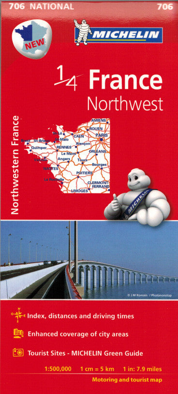 Michelin Northwest France Sheet Map 706 ISBN9782067200630