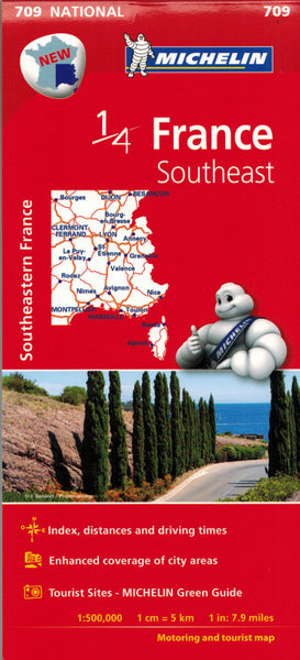 Michelin Southeast France Sheet Map 709 IBSN:9782067200739 Atlas, Altases, Map, Mapping, Locator map