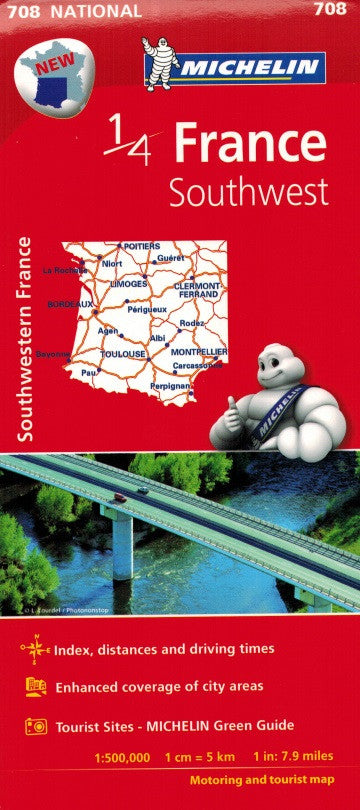 Michelin Southwest France Sheet Map 708 IBSN:9782067200715 Atlas, Altases, Map, Mapping, Locator map