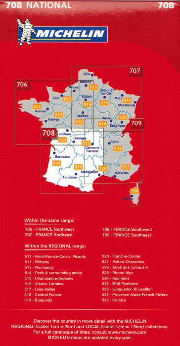 Map Of South East France.Michelin Southwest France Sheet Map 708