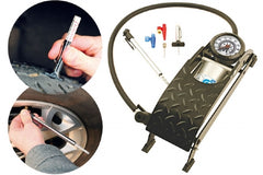 Single barrel foot pump kit with tyre pressure and depth gauges