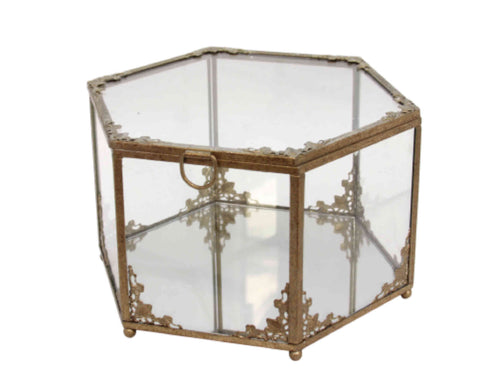 Gisela Graham Antique Silver Glass Hexagon Chest-Homewares-Gisela Graham-The Fabulous Gift Store