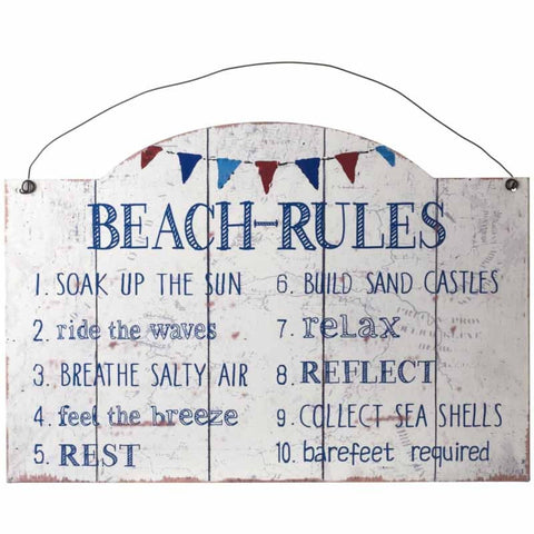 Heaven Sends - 'Beach-Rules'   Metal Sign