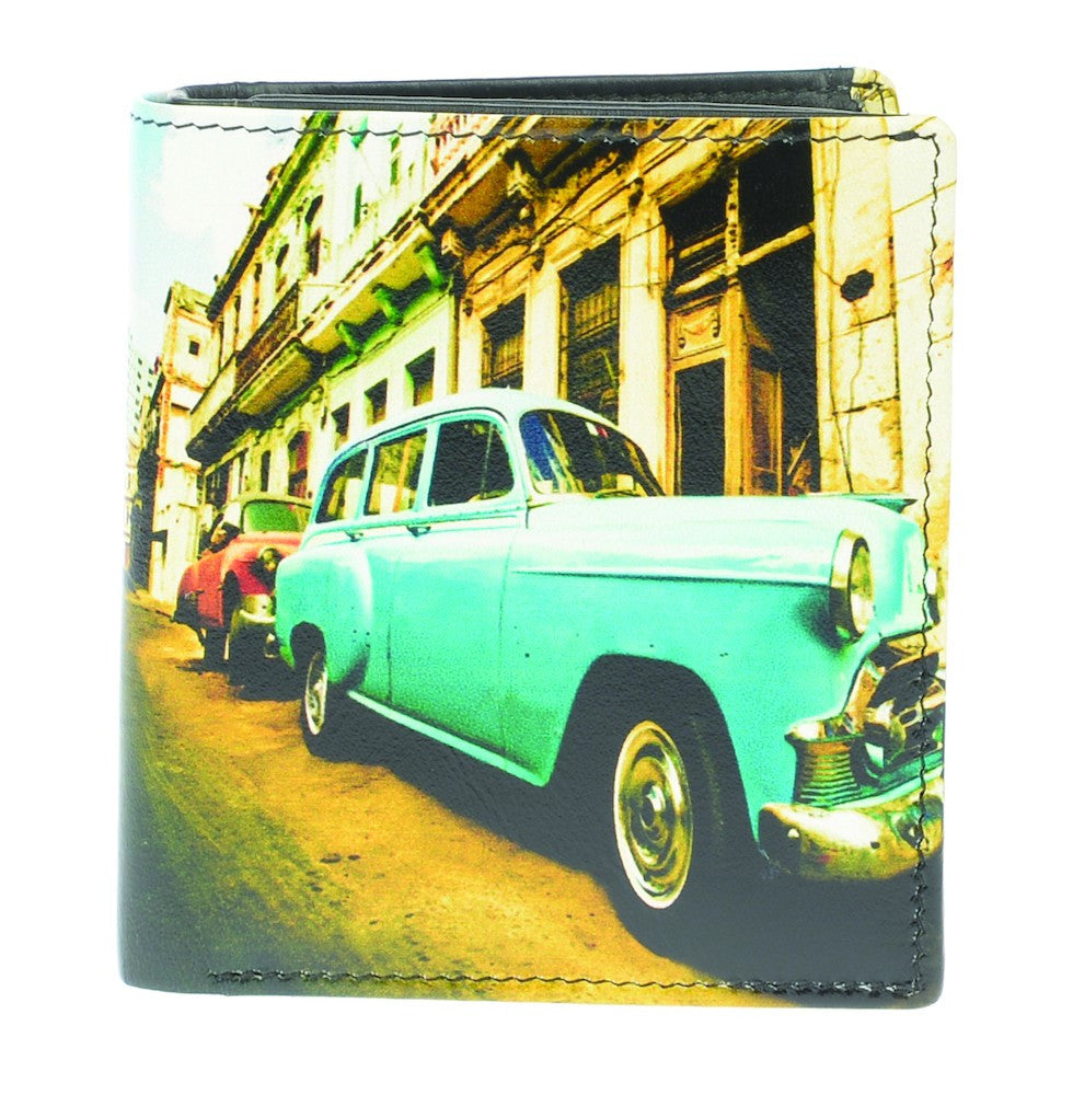 Golunski Retro Tri Folding Wallet - Blue Cuban Car-Wallets-Golunski-The Fabulous Gift Store