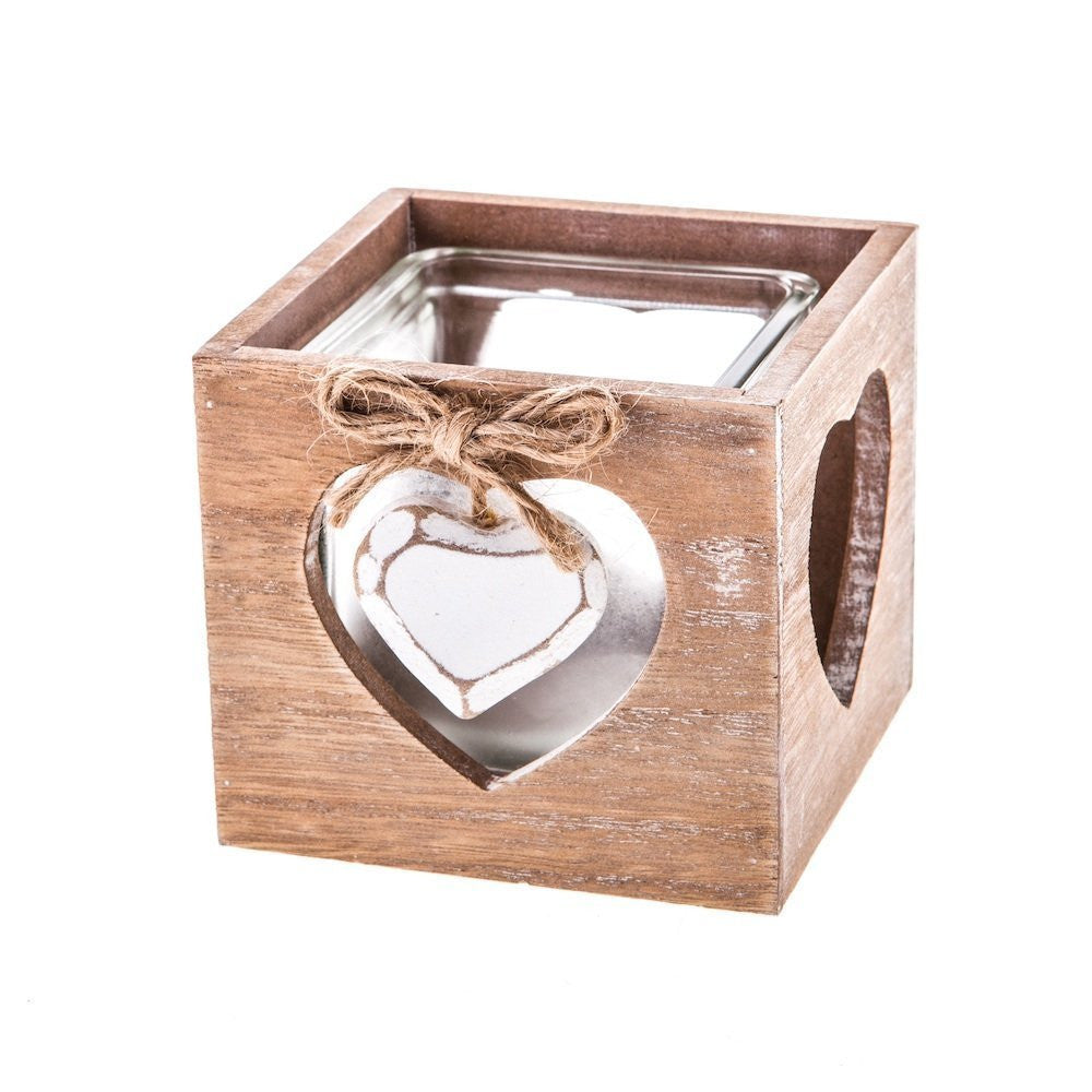 Gisela Graham - Rustic Wooden Tealight Holder With Heart Design