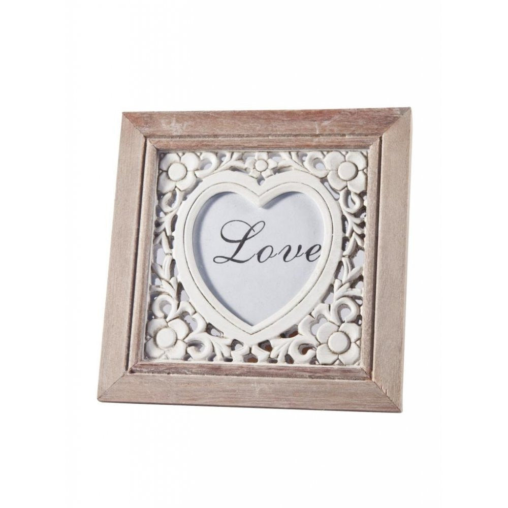 Gisela Graham - Carved Heart & Flowers Photo Frame-Homewares-Gisela Graham-The Fabulous Gift Store