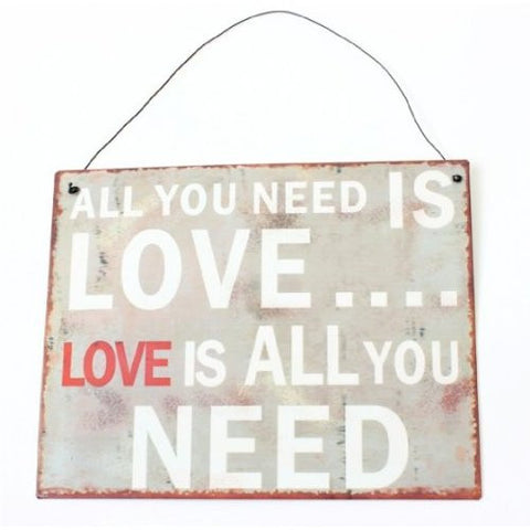 Heaven Sends - 'All You Need is Love' Metal Plaque-Signs-Heaven Sends-The Fabulous Gift Store