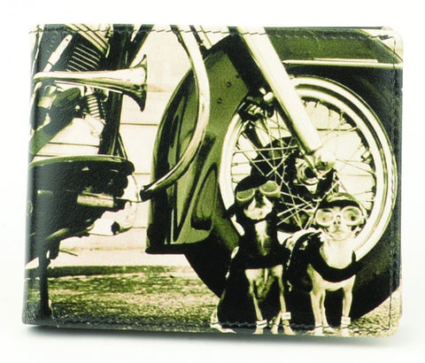 Golunski Retro Bi Folding Wallet - Harley With Dogs-Wallets-Golunski-The Fabulous Gift Store