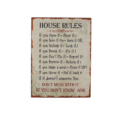 Heaven Sends - 'House Rules' Metal Sign
