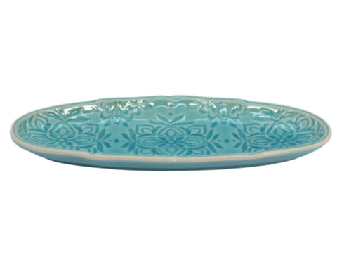 Gisela Graham Blue Stoneware Mosaic Slim Decorative Dish