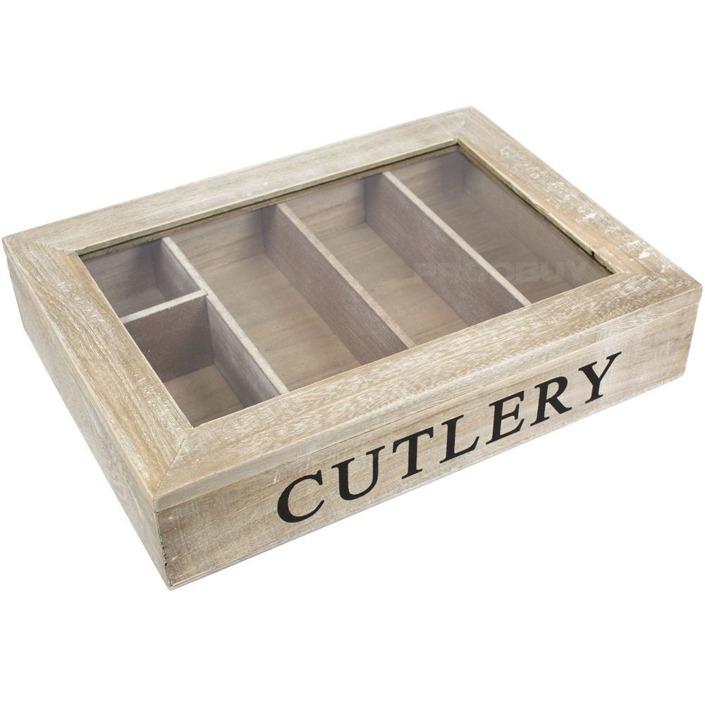 Gisela Graham - Shabby Chic Cutlery Box With Glass Lid-Homewares-Gisela Graham-The Fabulous Gift Store