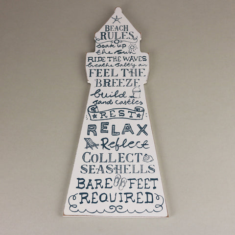 Gisela Graham - Beach Rules Wooden Lighthouse Wall Plaque-Homewares-Gisela Graham-The Fabulous Gift Store
