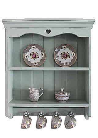 Handmade Shaker Style Wall Shelf Unit - Pale Blue
