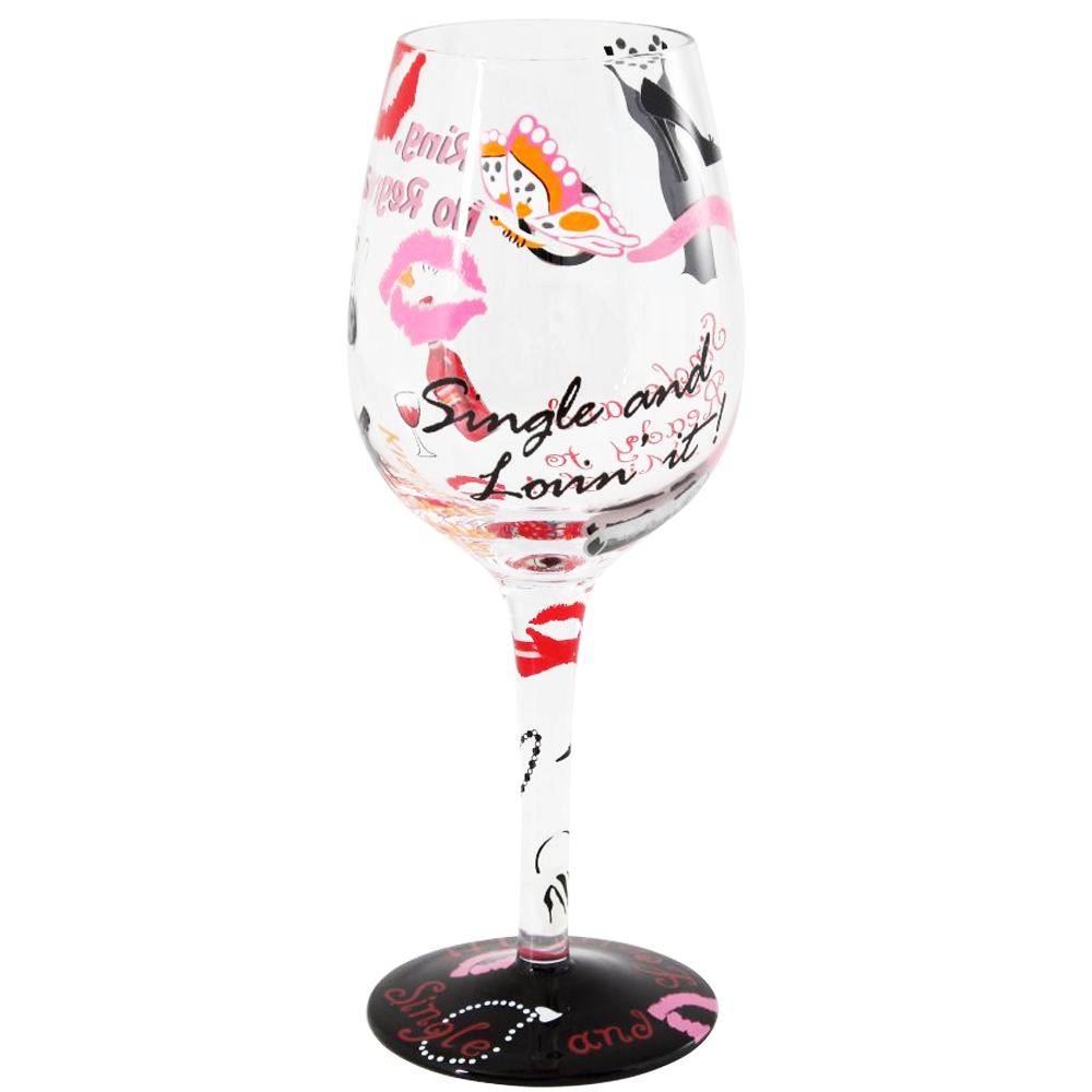Lolita Wine Glass - Single and Loving It: £15.45-Glasses-Lolita Glasses-The Fabulous Gift Store