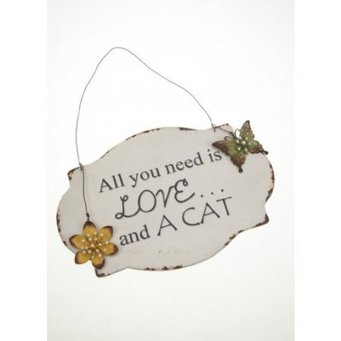 Heaven Sends - 'All You Need is Love & A Cat' Metal Plaque-Signs-Heaven Sends-The Fabulous Gift Store