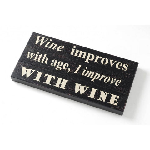 Heaven Sends - 'Wine Improves With Age ...' Wood Sign-Signs-Heaven Sends-The Fabulous Gift Store