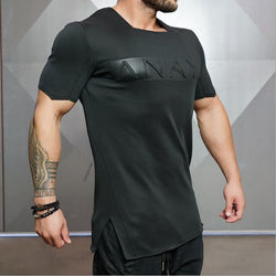 New Short Sleeve Men's T-Shirt Square Neck T Bodybuilding Top Polyester Quick-Drying Clothing