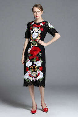 Black Lace with Floral Embroidery Dress