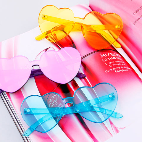 Rimless Colored Heart Glasses