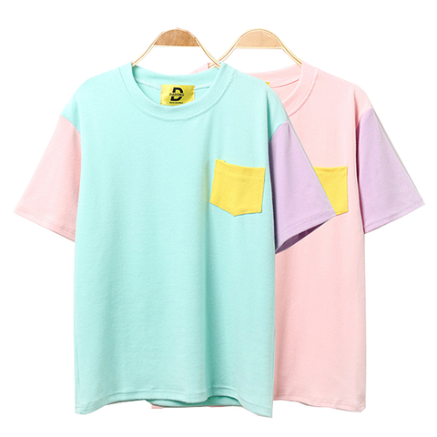 COLOR BLOCK POCKET TSHIRT