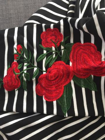 Striped Rose Sweater