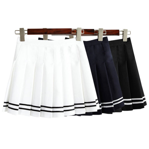 STRIPE PLEATED SKIRT(also available in black)