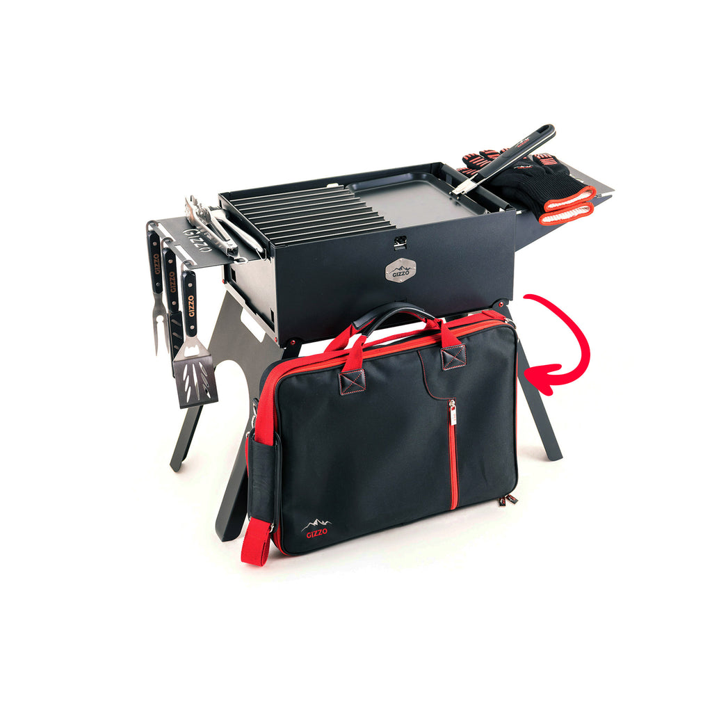 Foldable Charcoal Camping Grill with Accessories fits in BBQ Case