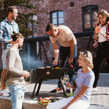 Load image into Gallery viewer, portable charcoal grill with case travel friendly comes in set with side tables grillgrate bbq pan eco fire strater gloves chimney charcoal grate bbq tools for camping travel small mobile foldable car park mini