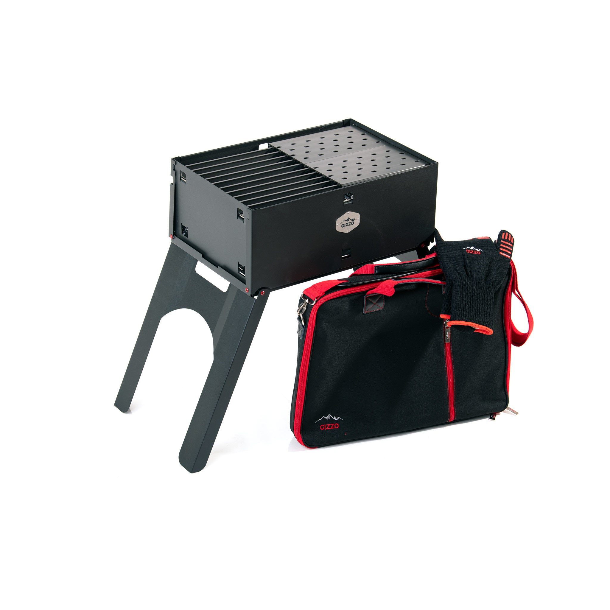 Portable grillgrate surface grill with bbq case