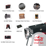 Laden Sie das Bild in den Galerie-Viewer, Foldable Portable Charcoal Grill with travel case bbq tools set gloves travel friendly for camping picnic