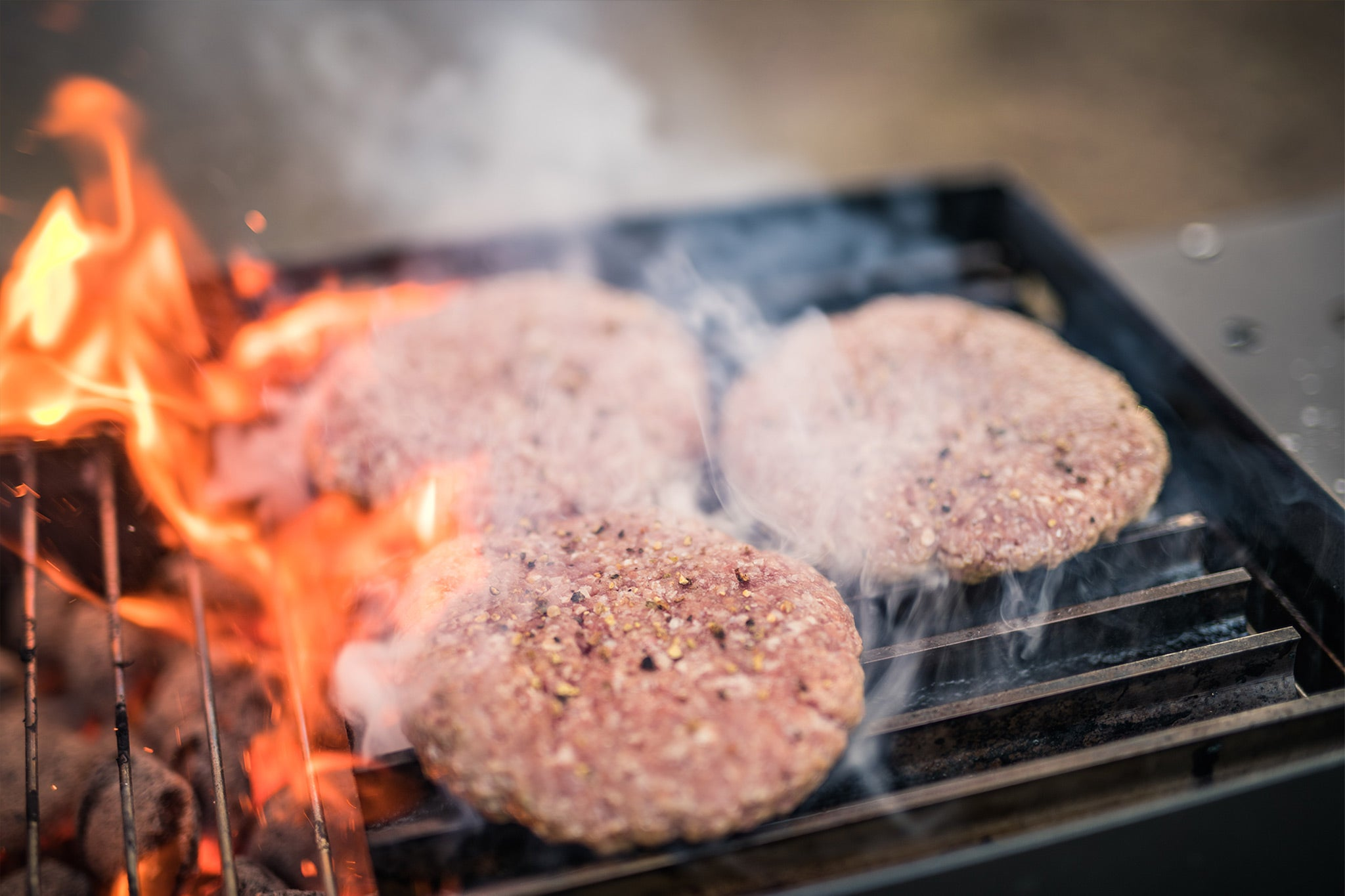 Grilling burgers on grillgrate