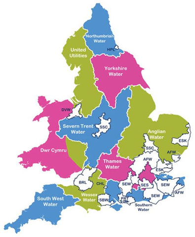 A map of the water companies in England and Wales