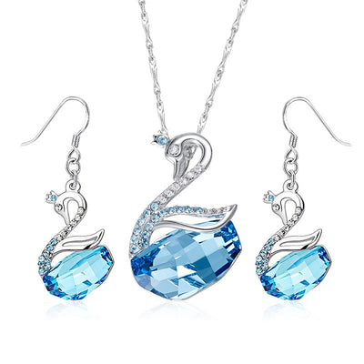 Davena Swan Shape Necklace Earrings Set - Davena watches