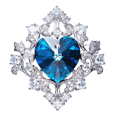 Luxury Blue Purple Heart Shaped Brooches - Davena watches