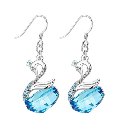 Davena  Chic Blue Swan Dangle Earrings - Davena watches