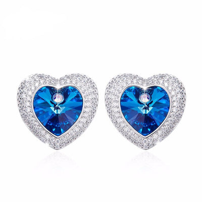 Davena Elegant Blue Rhinestone Stud Earrings - Davena watches
