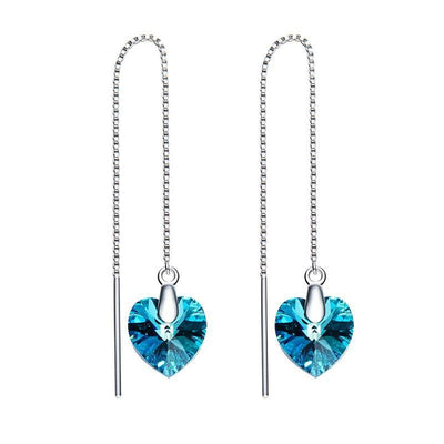 Davena Blue Heart Drop Earrings - Davena watches