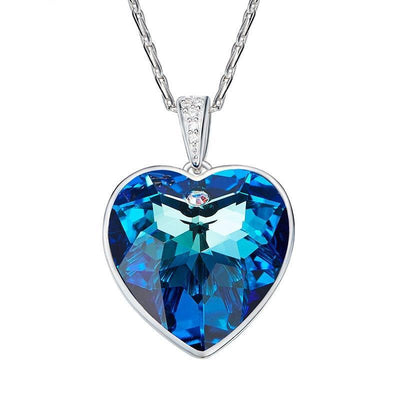 Davena Blue Heart Rhinestone Necklace - Davena watches